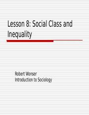Lesson 8 - Social Class and Inequality.ppt