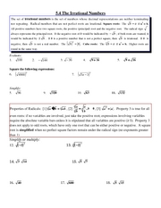 Study Guide on The Irrational Numbers