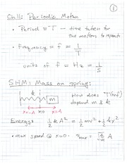 Physics 12 Periodic Motion Class Notes