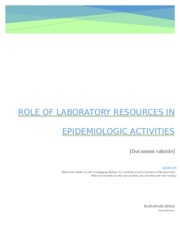 Role Of Laboratory Resources In Epidemiologic Activities