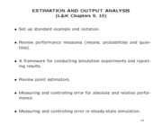 Estimation and Output Analysis
