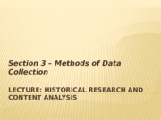 Lecture (Week 9) – Historical Research and Content Analysis