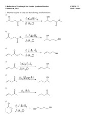 9 reduction of carbonyls practice answers