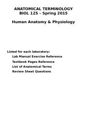 BIOL 125 ANATOMICAL TERMINOLOGY SPR 2015