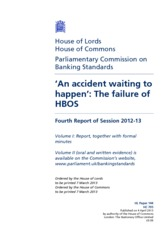 HBOS -- UK Parliamentary Commission on failure Mar2013