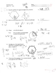 Geometry 218 - Quiz 11.5-11.8 with Answers