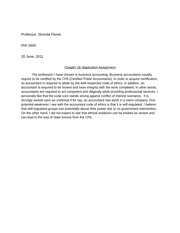 Chapter 18 Application Assignment -Ethics in Accountant