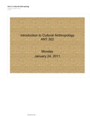 Intro to Cultural Anthropology