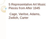 36 - 5 Representative Art Music Pieces from After 1945