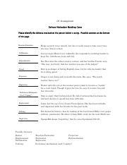 Defense Mechanisms Activity Docx Defense Mechanisms Activity 10
