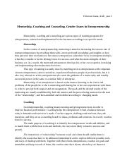 Mentorship, Coaching and Counseling. Gender Issues in Entrepreneurship