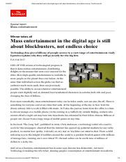Mass entertainment in the digital age is still about blockbusters%2C%20not endless choice  The Econo