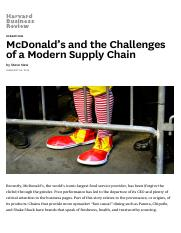 McDonald's and the Challenges of a Modern Supply Chain