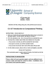 Exam on Introduction to Computational thinking
