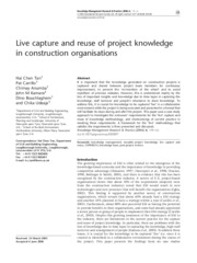 Live capture and reuse of project knowledge in construction organizations