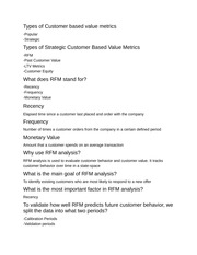 Customer Basic Value Metrics Notes