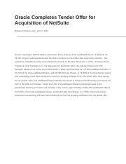 Oracle Completes Tender Offer for Acquisition of NetSuite.docx