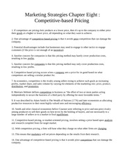 Chapter Eight - Competitive-based Pricing