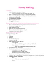 Class notes: Survey Writing 8.29