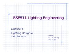 Lecture4 Pdf Bse511 Lighting Engineering Lecture 4