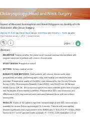 Impact of Mucosal Eosinophilia and Nasal Polyposis on Quality-of-Life Outcomes after Sinus Surgery -