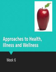 Week 6 - Approaches to Health, Wellness and Illness-1