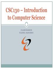 CSC130 – Introduction to Computer Science