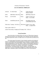 270 Biosocial Criminology Syllabus Fall 2015 Canvas