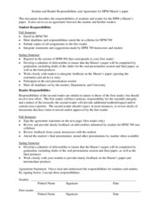 HPM 789-Student and Reader Responsibilities and Agreement for Masters paper