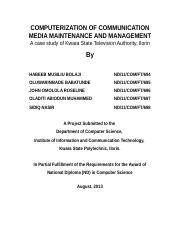 COMPUTERIZATION O COMMUNICATION MEDIA MAINTENANCE AND MANAGEMENT