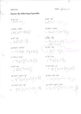 MPM2D Factoring Practise with Solutions