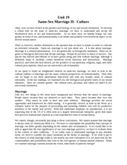 Notes - Week 5 - Same-Sex Marriage II - Culture