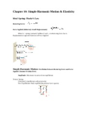 Chapter 10 Simple Harmonic Motion Summary