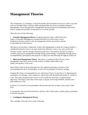 Management Theories (Bus environment).docx