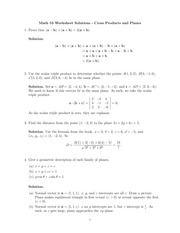 Cross Products and Planes Worksheet Solutions