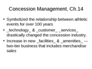OUTLINE Ch 14 Concessions Management
