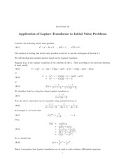 Lecture 30 Laplace Transform and Initial Value Problems