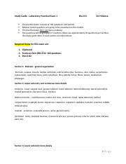 Study Guide - Laboratory Practical I Bio 151 LAB(1)