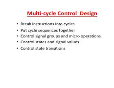 Datapath-Multicycle-Control