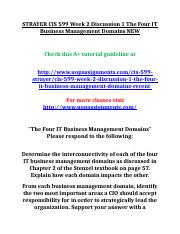 STRAYER CIS 599 Week 2 Discussion 1 The Four IT Business Management Domains NEW.doc