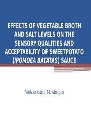 EFFECTS OF VEGETABLE BROTH AND SALT LEVELS ON