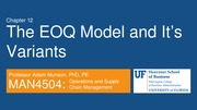 MAN4504_Ch12 The EOQ Model Lecture Notes