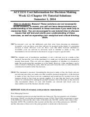 Chapter 19 Tutorial Solutions (Discussed in Week 12 Tutorial)