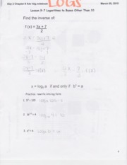 Notes on Logarithms 3.5.10
