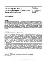 Holt 2010 - Examining the role of technology in the formation of deviant subcultures.pdf