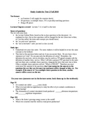 Study Guide for Test 2 Fall 2010