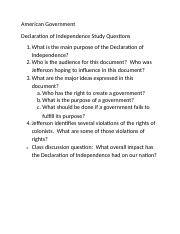 Ch. 2 - Declaration of Independence Study Questions