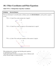 10.1 Polar Coordinates and Polar Equations