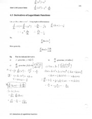 4.5 derivatives of logarithmic functions