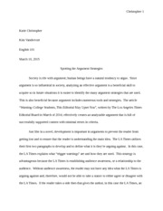english essay three personal visual argument vandervort  4 pages english 101 essay two analyzing arguments vandervort
